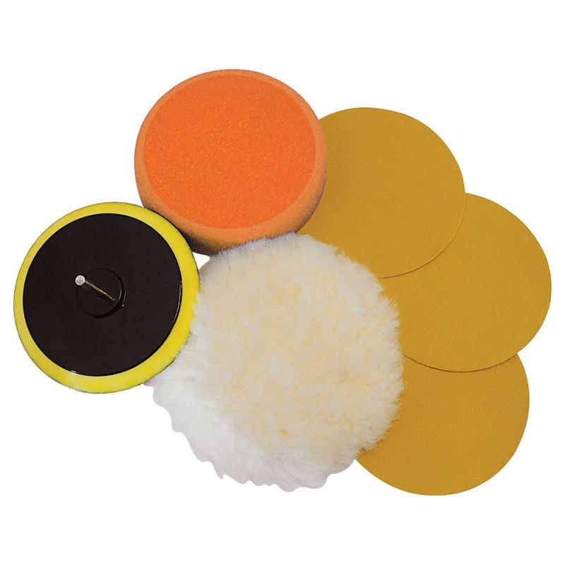 kit 6 accessoires de pon age polissage sur perceuse 125 mm. Black Bedroom Furniture Sets. Home Design Ideas